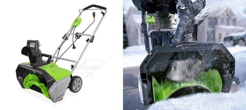 "7. Greenworks 20"" Snow Thrower Shovel"