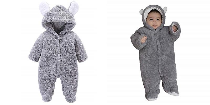 VNVNE Baby Cartoon Bear Fleece Jumpsuit