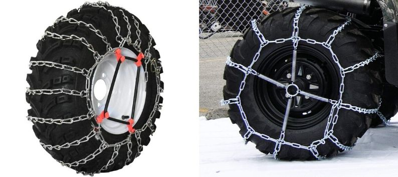 Grizzlar Garden Tractor Snowblower 2-Link Alloy Tire Chains, With Tensioner